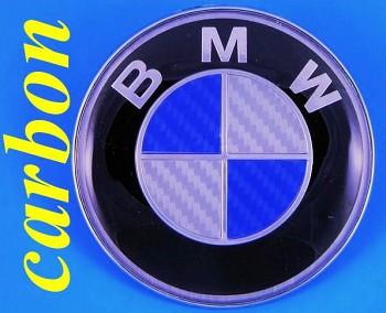BMW znak logo CARBON 3 5 E30 E38 E39 E60 X1 Z3 M3 82mm modrý