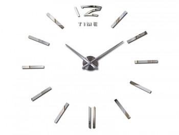 Velké nástěnné hodiny nalepovací 3D - stříbrné