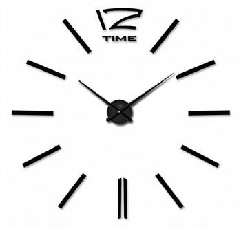 Velké nástěnné hodiny nalepovací 3D - černé