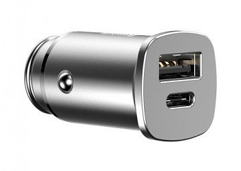 Baseus autonabíječka Square Metal USB A+C 30W PPS