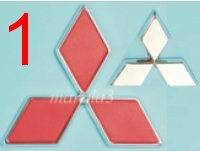 Znak Logo MITSUBISHI červený 10x9cm